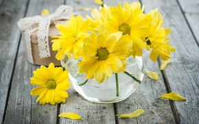 Picture table, chamomile, bouquet, yellow, vase, THE OFF