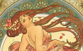 Wallpaper girl, flowers, hair, figure, hands, window, beauty, picture, composition, shoulder, Alphonse Mucha, Alfons Maria Mucha