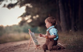 Picture nature, boy, baby, track, artist, child, easel, Anna Ipatiev