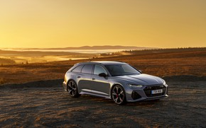 Picture fog, grey, Audi, field, universal, RS 6, 2020, 2019, V8 Twin-Turbo, RS6 Avant, UK-version