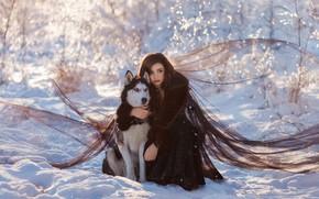 Picture winter, girl, snow, pose, dog, friends, husky, Julia Tagashova, Katerina Prikhodko