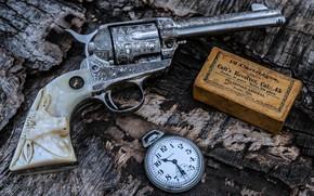 Wallpaper Gun, Bullets, Colt, Weapon, Pistol, Clock