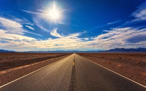 Picture The sun, Clouds, Road, Mountains, Horizon, Desert, Asphalt, The way, Clouds, Horizon, Landscape, Sun, Mountains, …