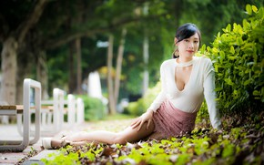 Picture girl, Park, Asian, bokeh