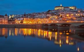 Picture bridge, river, building, home, Portugal, night city, Portugal, Coimbra, Coimbra, The River Mondego, Mondego River