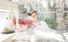 Picture look, girl, light, flowers, pose, Windows, garden, dress, mirror, sculpture, Asian, sitting, the bride, the …