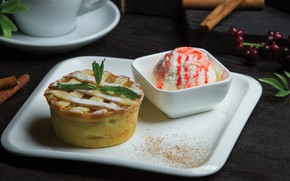 Picture plate, ice cream, cinnamon, basket, dessert, cakes, jam, cupcake, the dough