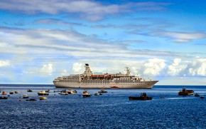 Picture The ocean, Sea, Boat, Liner, Boats, Boat, The ship, Passenger ship, Boats, Fishermen, Cruise Ship, …