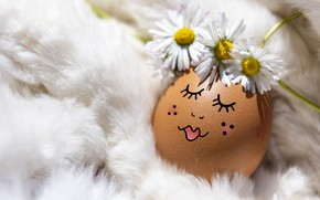 Picture flowers, face, eyelashes, holiday, egg, sleep, chamomile, makeup, Easter, sleeping, girl, lies, fur, decoration, white, …
