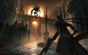 Picture the city, weapons, dawn, street, monster, hunter, Bloodborne