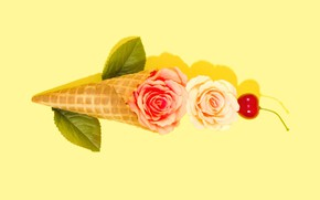 Picture flowers, background, decor, waffle cone