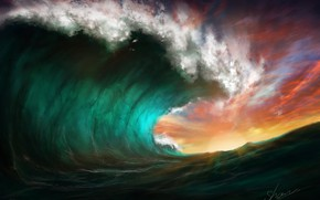 Picture the sky, sunset, wave