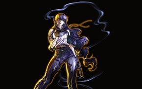 Picture girl, weapons, Black Lagoon, black background