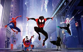 Picture fiction, street, cartoon, home, art, poster, characters, comic, costumes, Spider-man: universes, Spider-Man: Into the Spider-Verse
