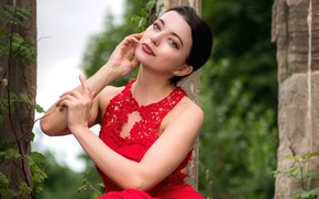 Picture look, girl, nature, pose, red, makeup, dress, beauty
