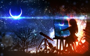 Picture girl, night, the moon, fantasy, draws