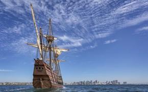 Picture sea, the city, ship, sailboat, horizon, mast