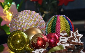 Picture balls, holiday, balls, cookies, Christmas, New year, different, Christmas decorations, новогодние декорации