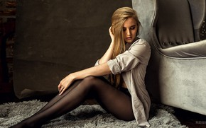 Picture girl, pose, model, portrait, chair, makeup, figure, hairstyle, Mat, tights, legs, sitting, on the floor, …