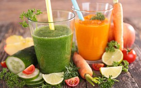 Picture greens, apples, Board, lime, glasses, fruit, vegetables, tomatoes, carrots, bokeh, tube, cucumbers, smoothies