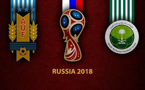 Picture wallpaper, sport, logo, football, FIFA World Cup, Russia 2018, Uruguay vs Saudi Arabia
