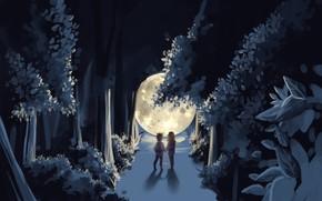 Picture moon, naruto, night, child, brothers, Ootsutsuki Ashura, Ootsutsuki Indra, by Kong__0u0