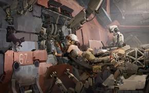 Picture metal, girl, fantasy, robot, science fiction, cat, machine, sci-fi, artwork, fantasy art, pearls, workshop, Cyberpunk