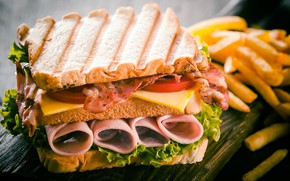 Picture cheese, bread, sandwich, vegetables, tomatoes, bacon, ham