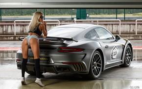 Picture machine, auto, ass, ass, girl, pose, sneakers, figure, glasses, shorts, knee, Maria Grishina, Oleg Klimin, …