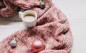 Picture decoration, balls, scarf, New Year, Christmas, Christmas, balls, cup, New Year, coffee, decoration, a Cup …