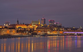 Picture lights, river, Poland, Warsaw, panorama