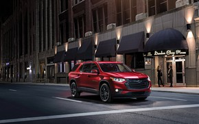 Wallpaper road, auto, night, street, Chevrolet, Traverse