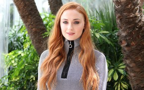 Picture look, girl, pose, actress, red, red, girl, beautiful, beautiful, hair, pose, actress, Sophie Turner, Sophie …