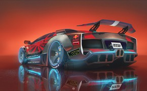 Picture Car, Red Bull, Neon, Illustration, Concept Art, Cyberpunk, Creatures, Transport & Vehicles, by Vlad Demidov, …