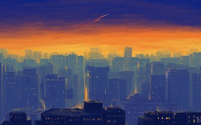 Picture the city, home, the light in the Windows, sunset in the city, by Bisbiswas