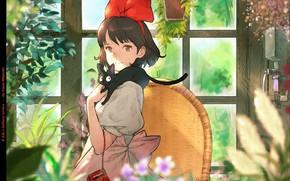 Picture radio, girl, in the room, Hayao Miyazaki, window, Kiki, Kiki's delivery service, Jiji, red bow, …