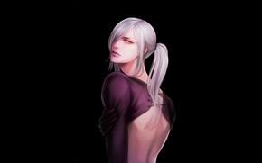 Picture back, black background, Sengoku Basara, The Era Of Unrest, high ponytail