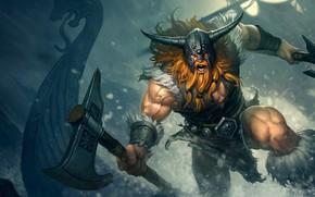 Wallpaper fantasy, horns, armor, Warrior, man, mood, muscles, weapons, ship, artwork, fantasy art, Viking, pearls, fury, ...