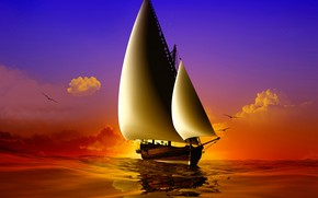 Picture sea, wave, the sky, the sun, clouds, birds, ship, seagulls, sails, render, 3D Graphics