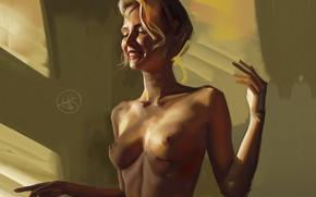 Picture Nude, window, portrait of a girl, Alexander Sidelnikov