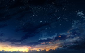 Picture the sky, stars, trees, sunset