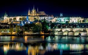 Picture night, bridge, the city, lights, reflection, river, Prague, Czech Republic, Czech Republic