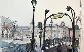 Picture metro, figure, Paris, watercolor, the urban landscape, Boulevard Saint-Michel