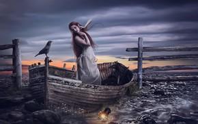 Picture girl, bird, boat, lantern, Raven, photo art