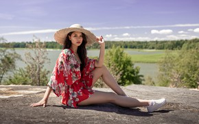 Picture greens, the sky, look, the sun, trees, landscape, nature, pose, river, model, portrait, hat, makeup, …
