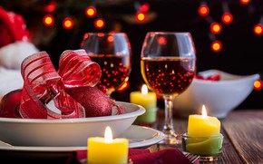Picture wine, balls, candles, glasses, New year, garland