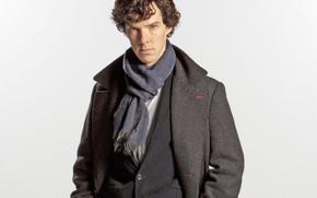 Picture look, scarf, white background, Sherlock Holmes, coat, Benedict Cumberbatch, Sherlock, Sherlock BBC, Sherlock Holmes, Sherlock …
