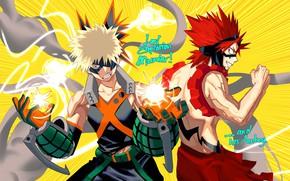 Picture smoke, explosions, anime, art, guys, Boku no Hero Academy, My hero Academy, Bakusou Katsuki, Kirishima, …