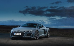 Picture Audi, the evening, Audi R8, twilight, V10, UK-spec, performance, 2019