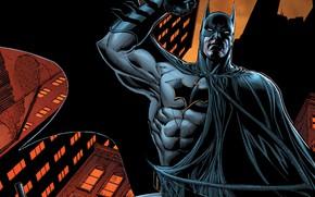 Picture city, fantasy, Batman, comics, artwork, mask, superhero, costume, building, fantasy art, urban, DC Comics, cape